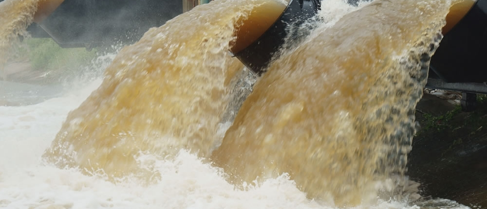 Industrial waste water discharge to river